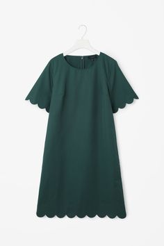 COS image 5 of Scalloped twill dress in Forest Green