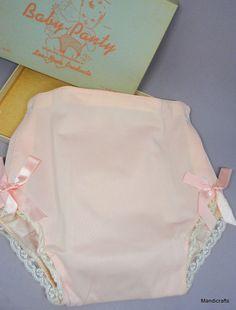 Lea Nora Pink #BabyPanty Diaper Cover Plastic Nylon 1960s sz 20lb Bows Lace Box #LeaNora Everyday