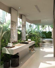 Cute decorating ideas for small bathroom windows for 2019 Spa Bathroom Design, Zen Bathroom Decor, Bathroom Spa, Balinese Bathroom, Bathroom Ideas, Asian Bathroom, Natural Bathroom, Bathroom Plants, Bathroom Basin