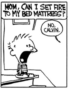 Calvin and Hobbes (awww, Mom) - MOM, CAN I SET FIRE TO MY BED MATTRESS?