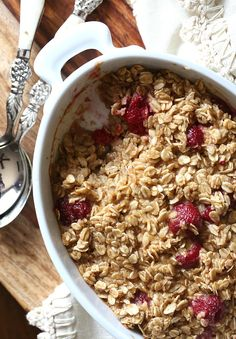 Baked Raspberry Oatmeal - SO good!  Perfect fall recipe for a chilly morning!
