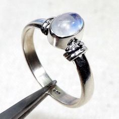 Blue Fire Rainbow Moonstone Ring, Rainbow Ring, 925 Sterling Silver Ring, Small Ring, Oval Ring