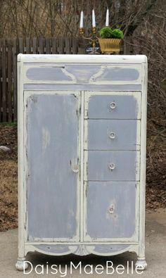 Annie Sloan Paris Gray and Old White Wardrobe @ DaisyMaeBelle