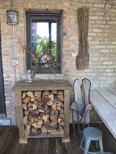 Wood box for front porch that could double as table / storage in summer. | HOME | Wood Boxes, Table Storage and Boxes