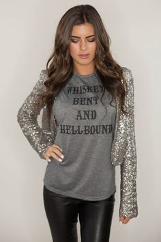 www.licensetoboot.com Whiskey Bent and Hellbound Tank Gray Christmas Wish List Holiday Outfit New Years Eve