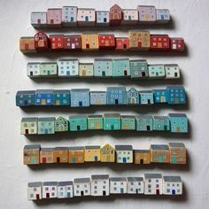 Indigo Blue and Lime Trees — misswallflower: by Valériane LeblondLittle painted wooden houses by Valériane Leblondby Valériane Leblond This would be a cool fridge magnet honestlySome how this is just the cutest thing! by Valériane Leblondby Val Clay Houses, Ceramic Houses, Miniature Houses, Wooden Houses, Art Houses, Wood Crafts, Diy And Crafts, Arts And Crafts, Driftwood Art