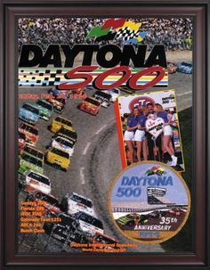 """NASCAR Framed 36"""" x 48"""" Daytona 500 Program Print Race Year: 36th Annual - 1994 by Mounted Memories. $363.99. NC14361994 Race Year: 36th Annual - 1994 Features: -Original cover art from that day's race program. -Vibrant colors restored, alive and well. -Classic brown finished wood frame, unmatted. -Officially licensed by NASCAR. -36"""" W; x 48"""" H; canvas print. -Overall dimensions 52 1/4 H"""" x 40"""" W. -Made in the USA."""