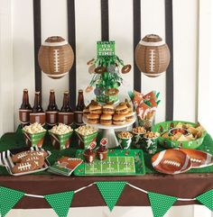 Green and brown theme. Football Party Supplies