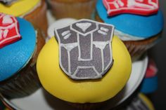 Cupcakes at a Transformers Birthday Party #transformers #cupcakes