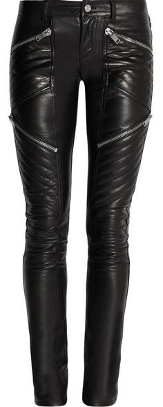 Quilted Skinny Genuine Leather Pants
