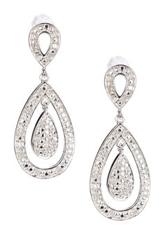 Pave Diamond Double Teardrop Earrings