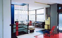 The Schröder House by Gerrit Rietveld. In the foreground is Rietveld's most famous creation, the Red Blue chair. The Rietveld-designed yellow cabinets hold a record player, film projector and small storage boxes for the three children Photo: ERNST MORITZ Walter Gropius, Utrecht, Schroder House, Yellow Cabinets, Eileen Gray, Ludwig Mies Van Der Rohe, Le Corbusier, Chandigarh, Interiores Design