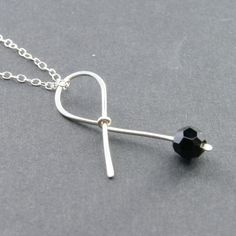 Black Ribbon Sterling Silver Necklace  Handmade by RanolaSg