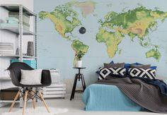 Fototapete - Topografische Weltkarte - klassisch