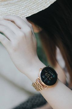 491a28676808 Spring style complete with a Q Wander rose gold smartwatch. via    katherinlakz Fashion Jewelry