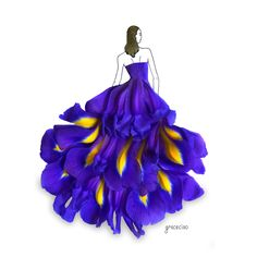 Grace Ciao is a fashion illustrator from Singapore. Her style mainly involves conceptualizing creative fashion outfits by integrating real flower petals into her sketches Grace Ciao, Fashion Drawing Dresses, Fashion Illustration Dresses, Fashion Sketches, Fashion Dresses, Fashion Illustrations, Design Illustrations, 3d Fashion, Floral Fashion