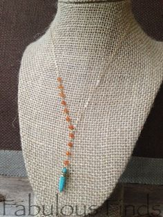 Turquoise and Mandarin Orange Beaded Chain Y by loveFabulousFinds