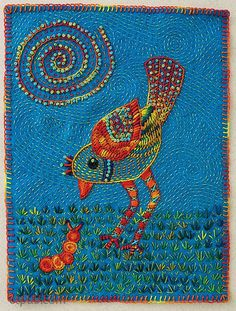 A Rare Song Bird by Laura Wasilowski, 7˝ × 9˝