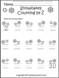 Free Counting by 10s worksheet. Count the snowflakes by 10s and ...
