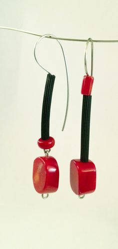 Fun with Coral Earrings by Dagmara Costello: Rubber and Stone Earrings available at www.artfulhome.com