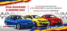In acest an special pentru Romania, ne dorim sa sarbatorim Centenarul asa cum se cuvine, astfel ca ai o reducere de 🔟% la orice comanda! Orice, Bmw, Vehicles, Sports, Hs Sports, Rolling Stock, Excercise, Sport, Vehicle