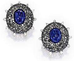 Pair of Cabochon Sapphire and Diamond Earclips, JAR Paris