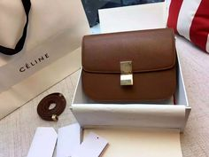 Limited Edition!2016 Celine Bags Outlet-Celine Classic Box in Chocolate Grained Lambskin Leather