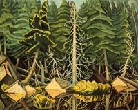 Yvonne McKague Housser, Evening, Nipigon River, c. 1942 Oil on paperboard Canadian Painters, Canadian Artists, Environment Painting, Inuit Art, American Art, Painting & Drawing, Ontario, Plant Leaves, Scenery