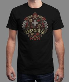 """""""Gamer Crest"""" is today's £8/€10/$12 tee for 24 hours only on www.Qwertee.com Pin this for a chance to win a FREE TEE this weekend. Follow us on pinterest.com/qwertee for a second! Thanks:)"""