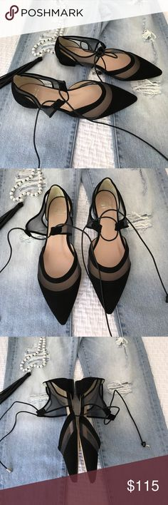Andre Assous Maddie lace-up pointy-toe flat The lace-up pointy-toe flat is remaining strong as a style staple. This black suede shoe from Andre Assous is luxe and comfortable and looks great dresses up or down. The mesh around the toe is a nice antidote to all suede. Size 9, runs small and feels like an 8.5 max. This is a new in box shoe. A little sticky on the bottom from the tag. This will be a great shoe for fall, too. Why wait! Andre Assous Shoes Flats & Loafers