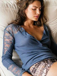 Free People Lacey Lounge Henley and Private Arts Undie at Free People Clothing Boutique #freepeople #privatearts