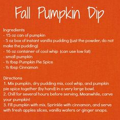 pumpkin dip - i want to try this minus the cool whip (maybe coconut milk instead? or just the pudding+pumpkin etc)