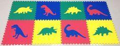 SoftTiles Dinosaur Foam Mats Primary color set. Kids love dinosaurs, so what better than a dinosaur playroom floor?