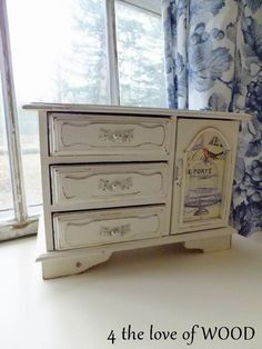 Grey Jewelry Box Up Cycled Vintage Wood Shabby Chic Distressed Trinket Storage Organizer Paris French Country Cottage Home Decor Gift Her