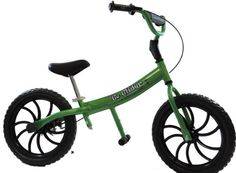 Glide Bikes Go Glider Kid's Balance Bike, Green, 16-Inch - Go Glider is designed for school age learners, 5 – 10 years, who know that learning to ride a bike should be fun! Unique downhill mountain bike geometry* gives rider a lower center of gravity for greater stability and safer balancing.
