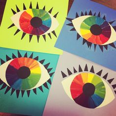 Eye love these third grade color wheel eyes. Color mixing is always a hit..❤️ #art #artteacher #elementaryart #painted #eyes…