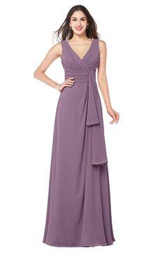 4ef5352b231 ColsBM Brenda Mauve Romantic Thick Straps Sleeveless Zipper Floor Length  Sash Plus Size Bridesmaid Dresses Dark