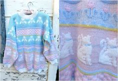 80's Cat Lady Fairy Kei Pastel Sweater by blissness on Etsy, $35.00
