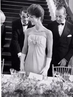 "Jacqueline Kennedy attending the America's Cup Dinner, at ""The Breakers"" in Newport, Rhode Island, September 14, 1962."