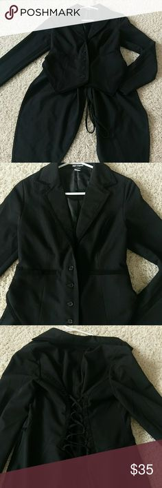 Women's Lace-up suit type coat This is super cute! I wish my arms fit in it still... It's hardly worn and really great to dress up. The last two photos are of the back, it has tails like a fancy men's tuxedo. Soft, stretchy fabric.  Runs sort of small for a LG** Hot Topic Jackets & Coats Blazers