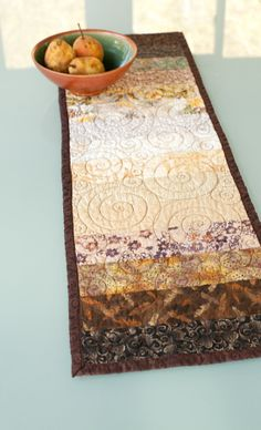quilted table runner woodland by btaylorquilts on Etsy