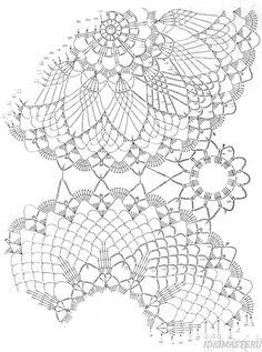 Салфетка продолговатая связанная из трех больших круглых элементов, четырех маленьких и обвязанная каймой. Схема салфетки