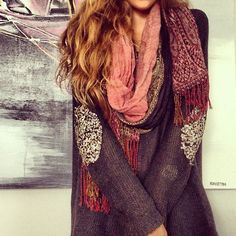 sweater, sequins and a scarf.
