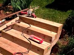 how to make landscape stairs - - Image Search Results Landscape Stairs, Landscape Timbers, Landscape Design, Timber Stair, Wood Stairs, How To Build Steps, Outdoor Steps, Sloped Backyard, Garden Stairs