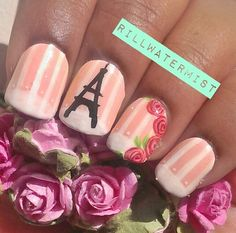 Paris Nails on We Heart It. - EASY EIFFEL TOWER!