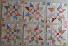 stars/Wonder how they would look in a quilt with alternating white blocks or solid sashing.