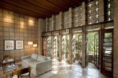 Frank Lloyd Wright's L Miniatura. We used to live around the corner from it and peek at it thru the fence. Built entirely of concrete blocks on a bet that he couldn't build a house for 30K!