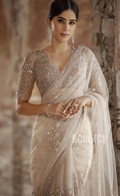 Miss India 2019 Andhra Pradesh Nikita Tanwani in a beige tulle saree Rimple & Harpreet's unveiling collection for Miss India… Indian Bridal Outfits, Indian Bridal Fashion, Indian Fashion Dresses, Dress Indian Style, Indian Designer Outfits, Fashion Outfits, Saris, Sarees For Girls, Saree Trends