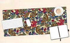 "Amazon.com : KESS InHouse Julia Grifol ""My Boobooks Owls"" Office Desk Mat, Blotter, Pad, Mousepad, 13 x 22-Inches : Office Products #owls #bird #flowers #mat #desk #illustration #office #desk"