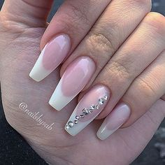Coffin nails: French + Diamond. Classy & Elegant #nail #nailart
